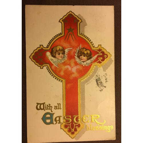 Старинная пасхальная открытка  КРЕСТ АНГЕЛЫ