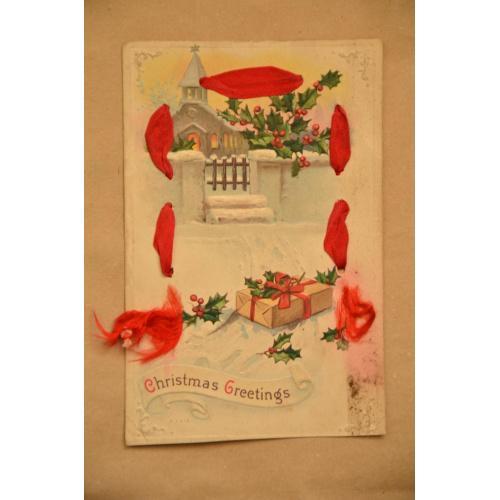 Американская рождественская открытка с атласной лентой