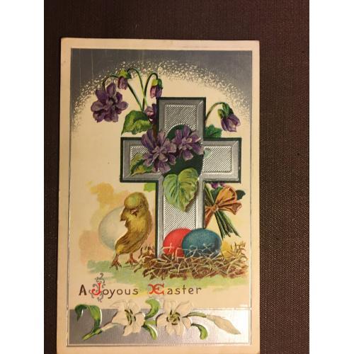 Старинная пасхальная открытка  ЦЫПЛЕНОК КРЕСТ