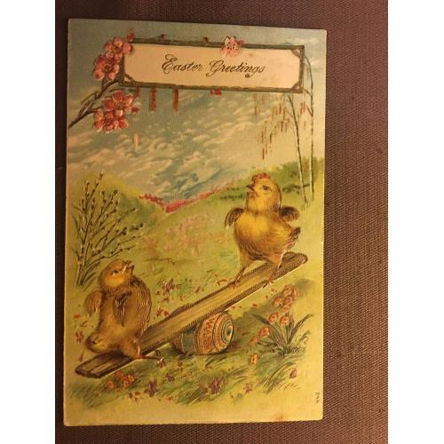 Старинная пасхальная открытка ЦЫПЛЯТА КАЧЕЛЯ