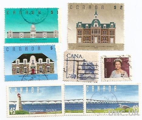 Марки 8 штук Канада Canada Королева Мост Конфедерации гаш 580