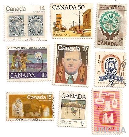 Марки 9 штук Канада Canada Ten Pince Рождество Веселого рождества  гаш 584