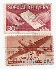 Марки USA США  Авиа почта США Срочная доставка почты  не гаш 568 2 штуки