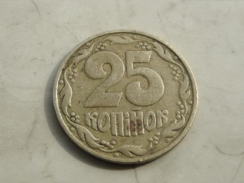 "25 копеек Украина 1992 год 1.1ААв (749) ""БРАК, штамп аверса изношенным штемпелем"