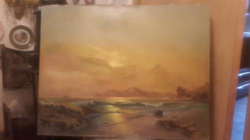 Большая старинная картина Морской пейзаж