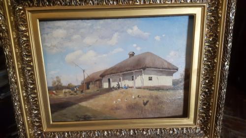 Старинная картина в раме картон,масло сзади фамилия С.Васильковский