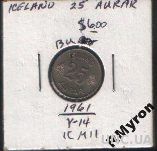 Исландия (1961) - 25 аурар - СОСТОЯНИЕ!!!