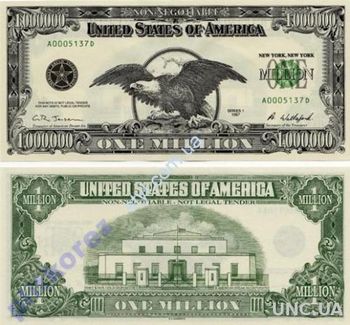 1000000 $ 1 один миллион долларов США банкнота USA USD купюра оригинал мільйон