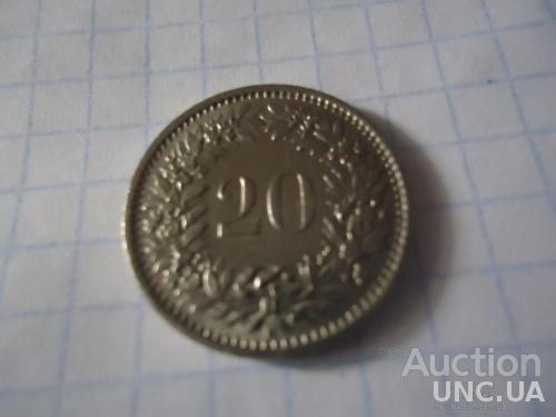 20 рапенів Швейцария Helvetia 1989 Швейцарський монета Швейцарских раппенов