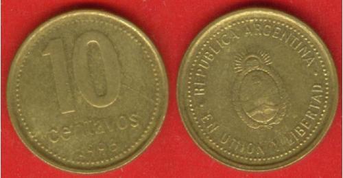 Аргентина, 10 центавос, 1993 г.