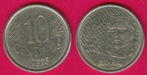 Бразилия, 10 центавос, 1995 г.