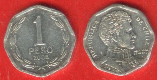 Чили, 1 песо, 2008 г.