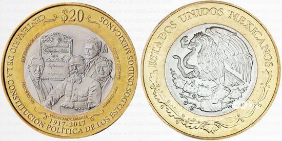 К столетию Конституции в Мексике выпустили памятные монету и купюру