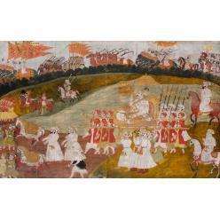 Индийская живописная миниатюра императора и его свиты выставлена на торги