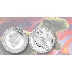 Монетный двор Перта отчеканил 5-унцевую серебряную монету с тираннозавром