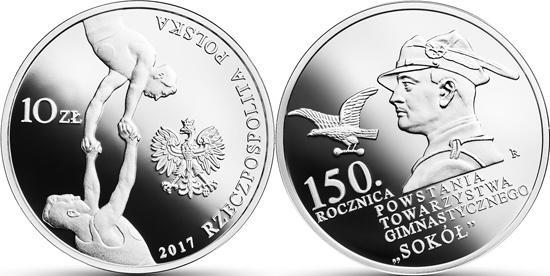 20 тысяч монет к юбилею гимнастического общества «Сокол» выпустил Нацбанк Польши