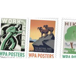 В США выпустили буклет почтовых марок с плакатами времен Великой Депрессии