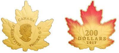 В Канаде представили монету в форме кленового листа