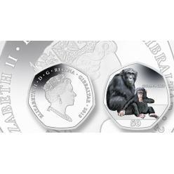 Pobjoy отчеканил монеты с изображением шимпанзе