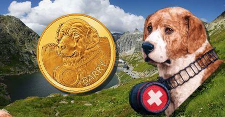 На монете, выпущенной в Швеции, изображен сенбернар Барри