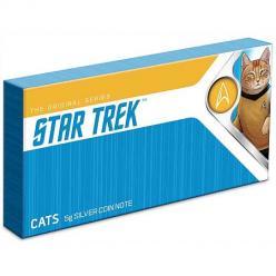 В Новой Зеландии выпущена серебряная банкнота, на которой изображены герои Star Trek в обличье кошек
