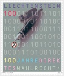 Лихтенштейн выпустил памятную марку в честь годовщины прямого избирательного права