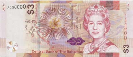  Багамские острова выпустили новую трехдолларовую банкноту (B350a)