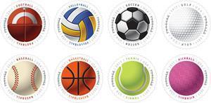 В США выпустили спортивные безноминальные почтовые марки