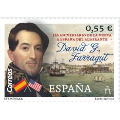 Представлена марка в честь визита адмирала Фаррагута в Испанию