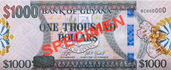 В Гайане в обращении появилась модернизированная банкнота номиналом 1 000 долларов