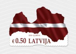 Латвия выпустила марку в форме карты и флага страны