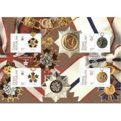 В Чехии выпущен в обращение почтовый блок «100-летие создания независимой Чехословакии: ордена и медали»