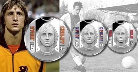 На новой голландской монете представлен портрет известного футболиста