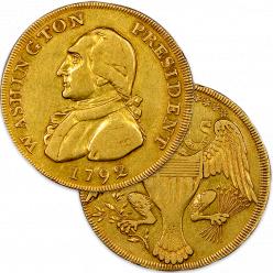В США на аукцион выставлена уникальная монета 18-го века с изображением Джорджа Вашингтона
