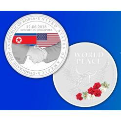 Монеты по случаю встречи Трампа и Ким Чен Ына выпущены в Республике Сингапур