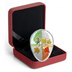 Овальная монета «Четыре сезона кленового листа» отчеканена в Канаде
