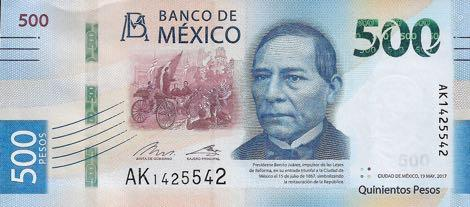 Банкнота номиналом 500 песо из новой серии выпущена в Мексике