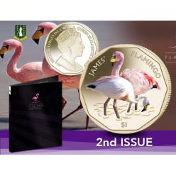  Новая монета Pobjoy Mint посвящена розовому фламинго