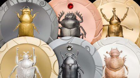 Выпущен новый набор монет с изображениями жуков-скарабеев