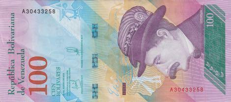 В Венесуэле началась эмиссия банкнот номиналом 100 боливаров новой серии
