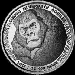 Монета с изображением гориллы выпущена в Конго