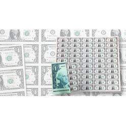 Бюро Печати и Гравировки США предлагает коллекционерам неразрезанные листы однодолларовых банкнот