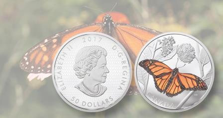 В Канаде представили монету с бабочкой монарх