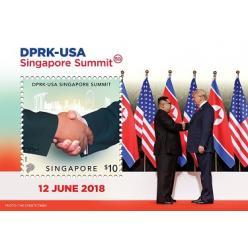 Марку с рукопожатиями Трампа и Ким Чен Ына выпустили в Сингапуре