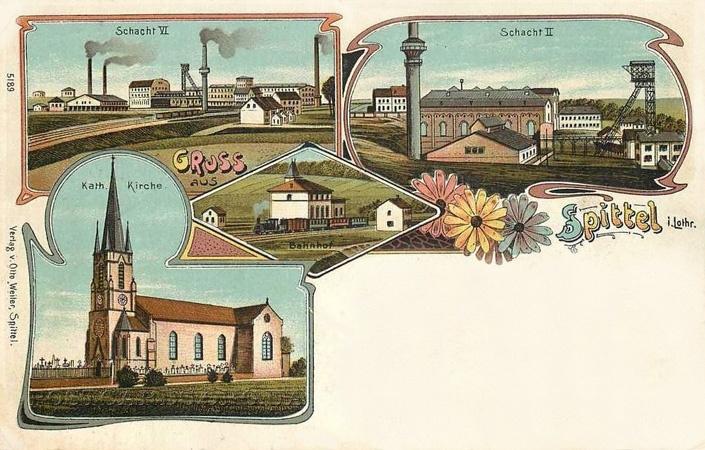 "Поштівка ""Gruss aus Spittel"" з орнаментикою епохи Art Nouveau."