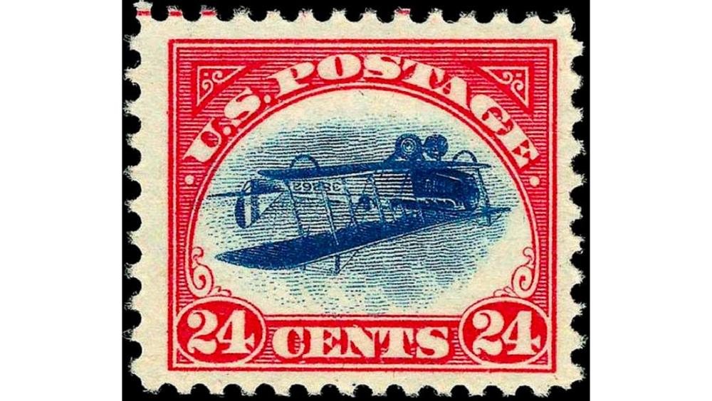«Inverted Jenny» или «Upside Down Jenny», «Перевернутая Дженни», США, 1918 год