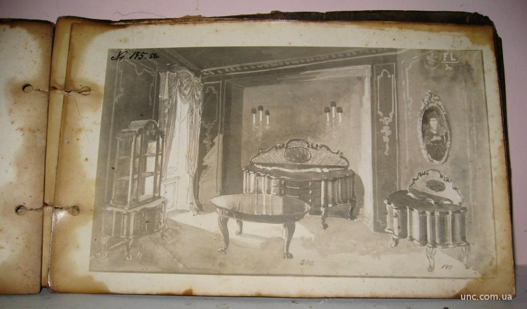 Старинный каталог мебели интерьера XVIII века