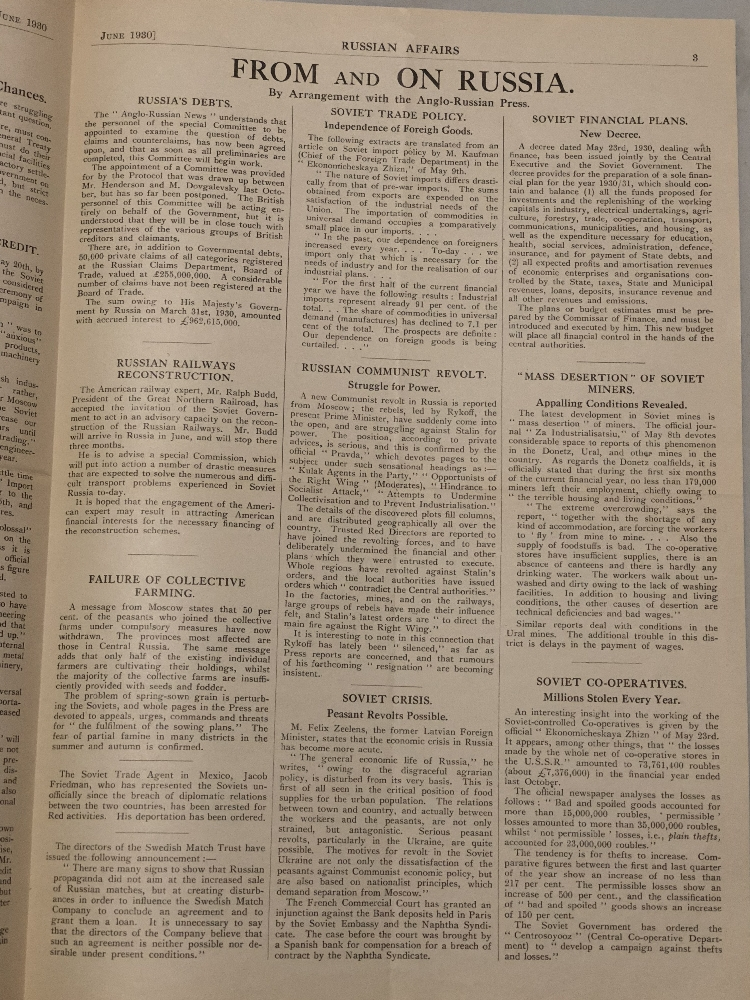 Страницы газеты «Russian Affairs» 1930 года